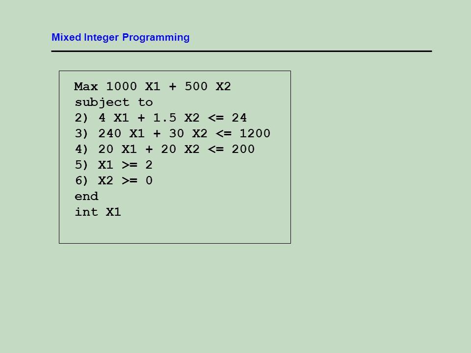 Mixed Integer Programming Max 1000 X1 + 500 X2 subject to 2) 4 X1 + 1.5 X2 <= 24 3) 240 X1 + 30 X2 <= 1200 4) 20 X1 + 20 X2 <= 200 5) X1 >= 2 6) X2 >= 0 end int X1