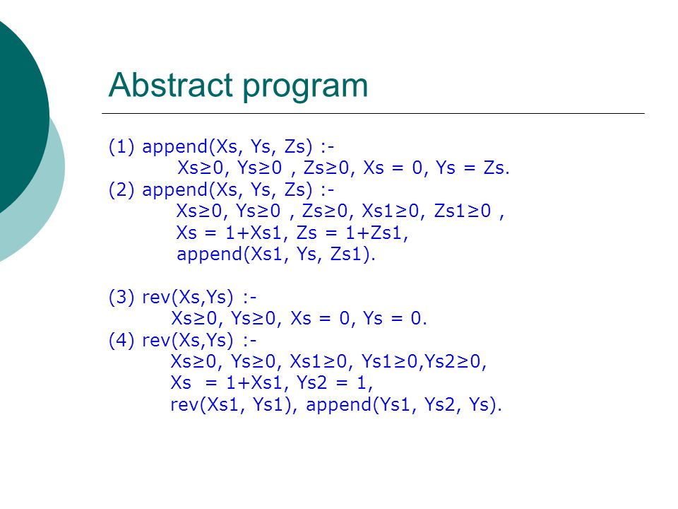 Abstract program (1) append(Xs, Ys, Zs) :- Xs≥0, Ys≥0, Zs≥0, Xs = 0, Ys = Zs.