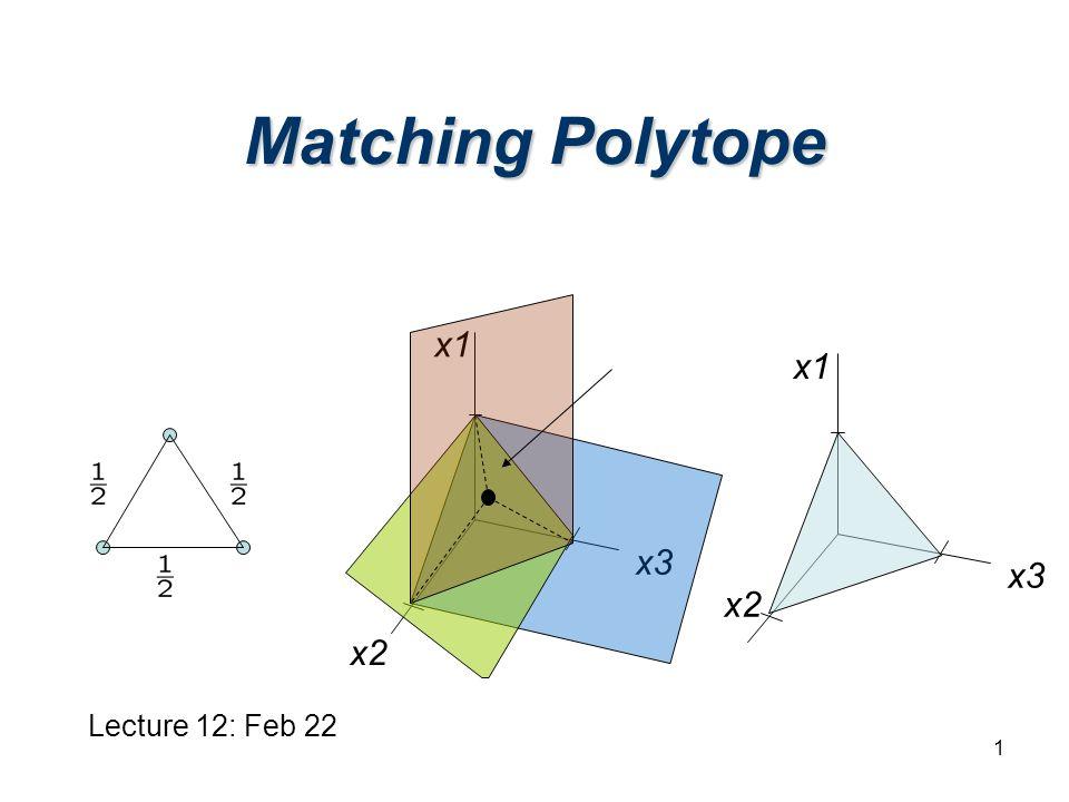 1 Matching Polytope x1 x2 x3 Lecture 12: Feb 22 x1 x2 x3