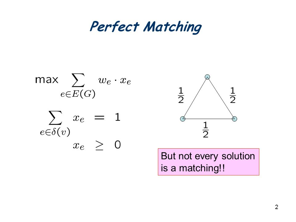 2 Perfect Matching But not every solution is a matching!!