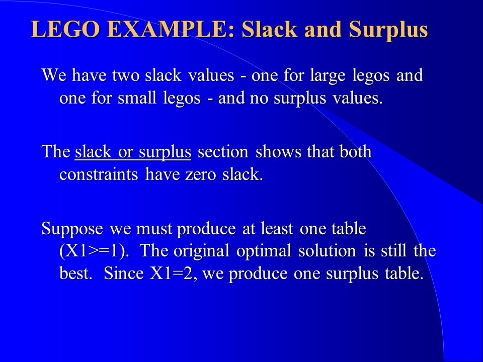 We have two slack values - one for large legos and one for small legos - and no surplus values.