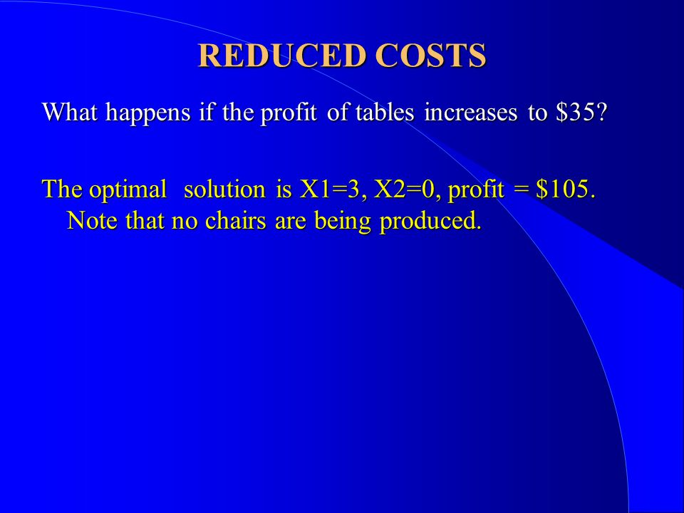 What happens if the profit of tables increases to $35.