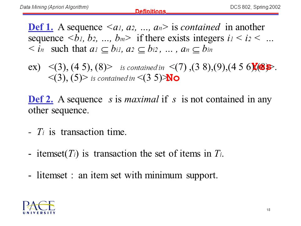 Data Mining (Apriori Algorithm)DCS 802, Spring 2002 17 Sequence Version of DB Conversion 11222344451122234445 CustomerID Jun 25 93 Jun 30 93 Jun 10 93