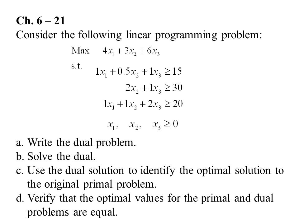 Ch.6 – 21 Consider the following linear programming problem: a.Write the dual problem.
