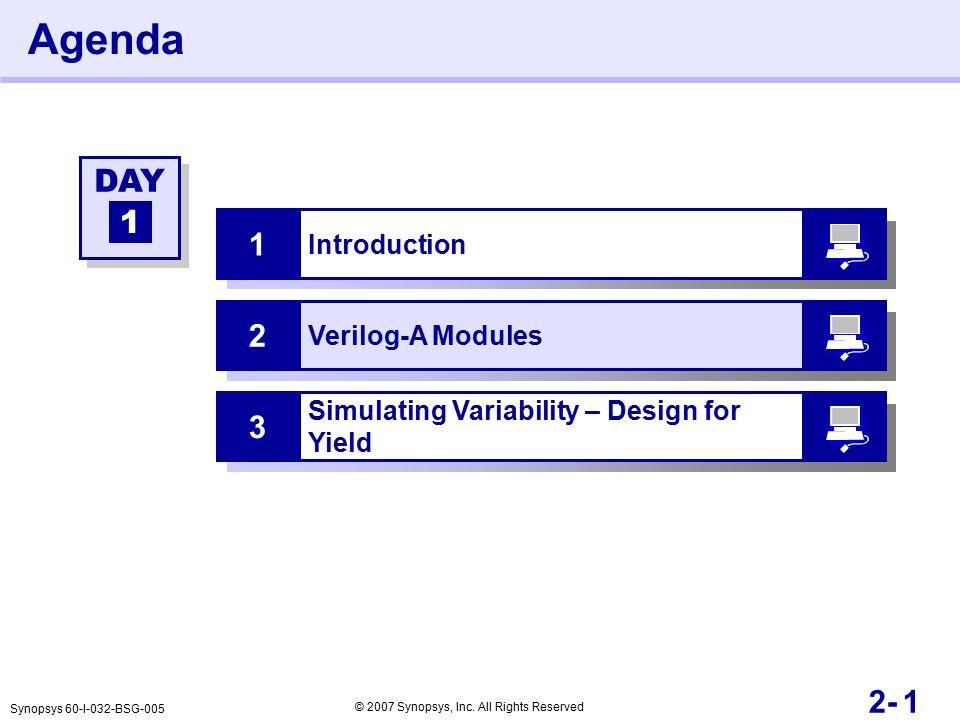 12- Agenda Introduction 1 Verilog-A Modules 2 DAY 1 Synopsys 60-I-032-BSG-005 © 2007 Synopsys, Inc.