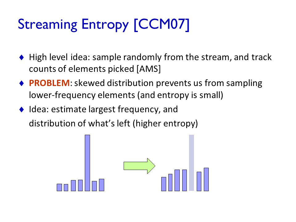 Streaming Entropy [CCM07]  High level idea: sample randomly from the stream, and track counts of elements picked [AMS]  PROBLEM: skewed distribution