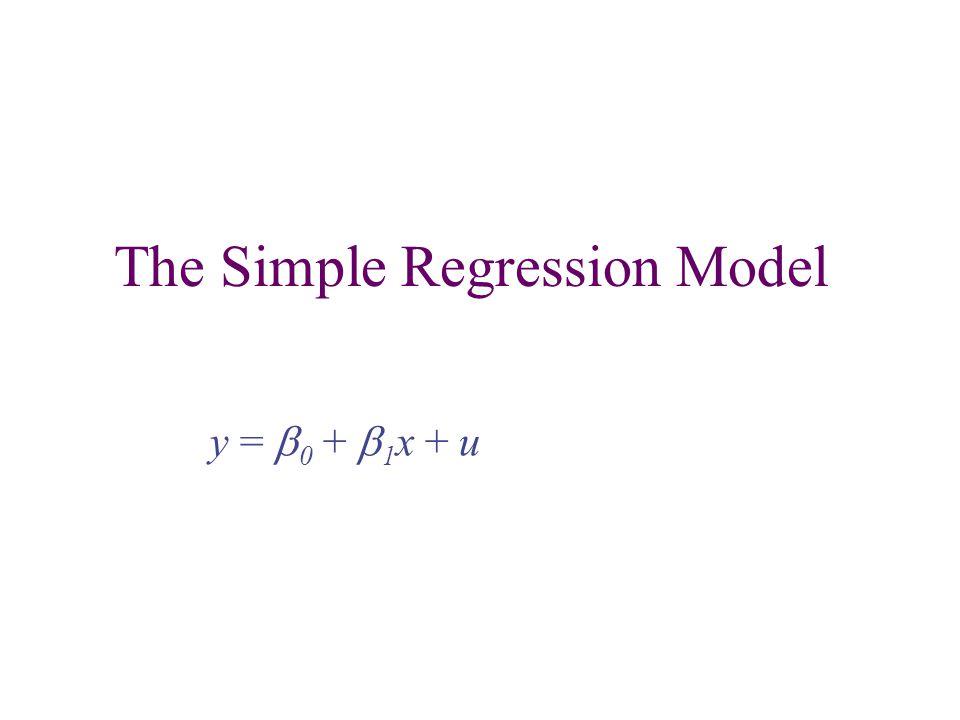 The Simple Regression Model y =  0 +  1 x + u