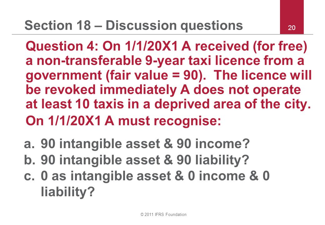 © 2011 IFRS Foundation 20 Section 18 – Discussion questions Question 4: On 1/1/20X1 A received (for free) a non ‑ transferable 9 ‑ year taxi licence from a government (fair value = 90).