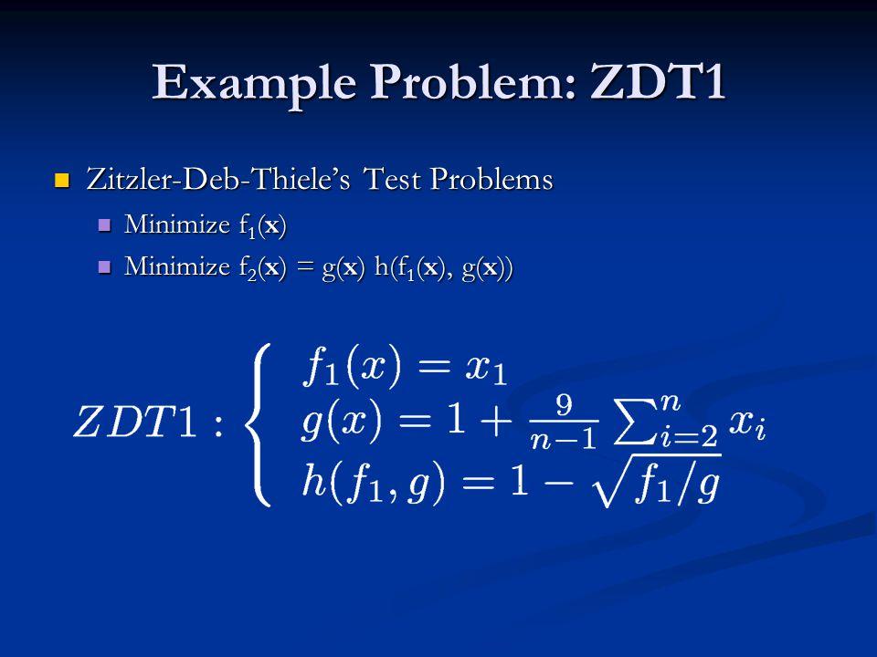 Example Problem: ZDT1 Zitzler-Deb-Thiele's Test Problems Zitzler-Deb-Thiele's Test Problems Minimize f 1 (x) Minimize f 1 (x) Minimize f 2 (x) = g(x) h(f 1 (x), g(x)) Minimize f 2 (x) = g(x) h(f 1 (x), g(x))