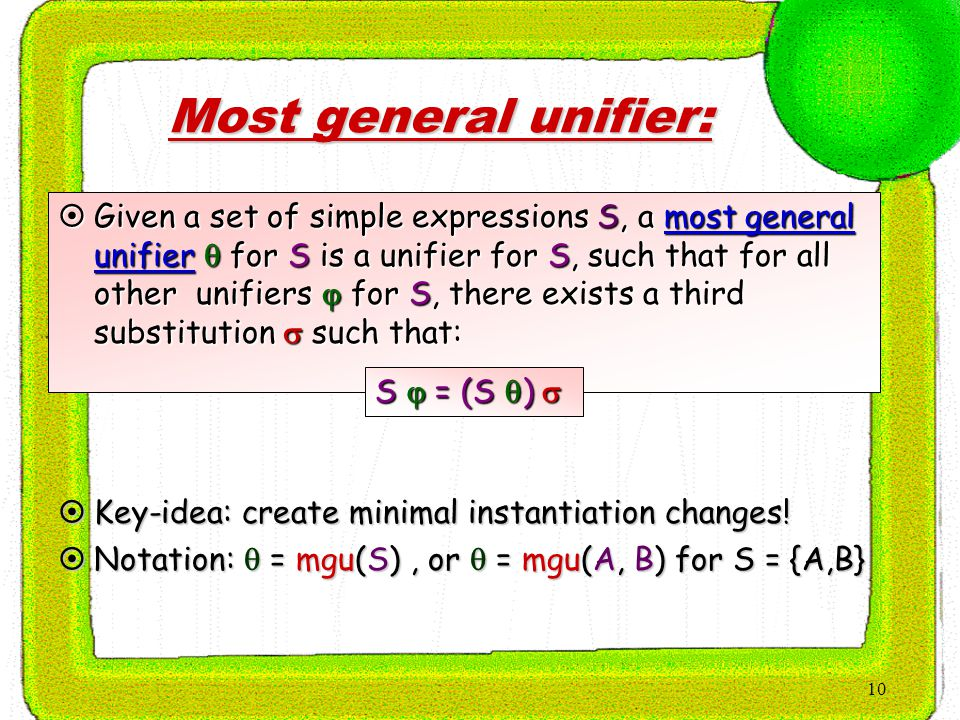 10 Most general unifier:  Given a set of simple expressions S, a most general unifier  for S is a unifier for S, such that for all other unifiers  for S, there exists a third substitution  such that: S  = (S  )   Key-idea: create minimal instantiation changes.
