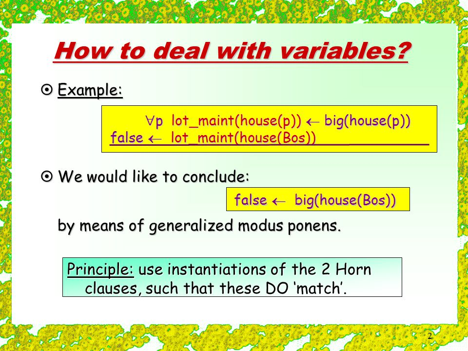 2 How to deal with variables.