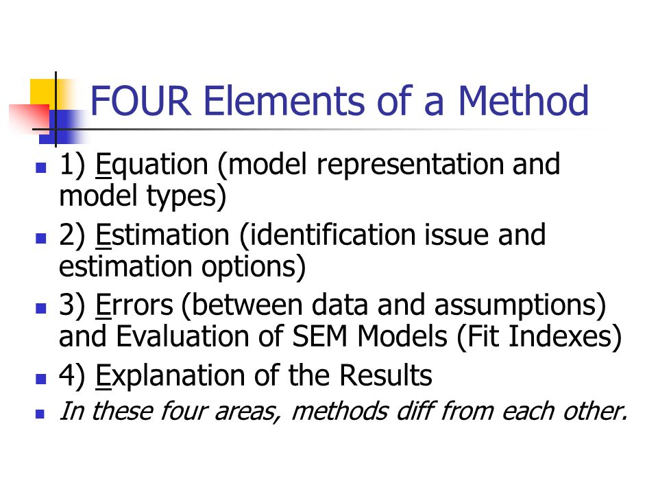 Model Complexity 2 Number of observations = v(v+1) / 2 Number of model parameters <= number of observations # parameters = p + e + d (p - # paths, e - #obs for exogenous, d - #obs for disturbance) X4 X1 X2 X3 x1x2x3x4 x1 1.23.17.45 x2.231.56.09 x3.17.561.33 x4.45.09.331