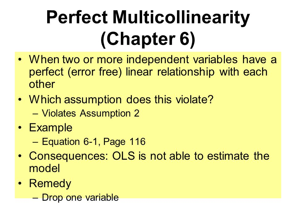 Perfect Multicollinearity (Chapter 6) When two or more independent variables have a perfect (error free) linear relationship with each other Which assumption does this violate.