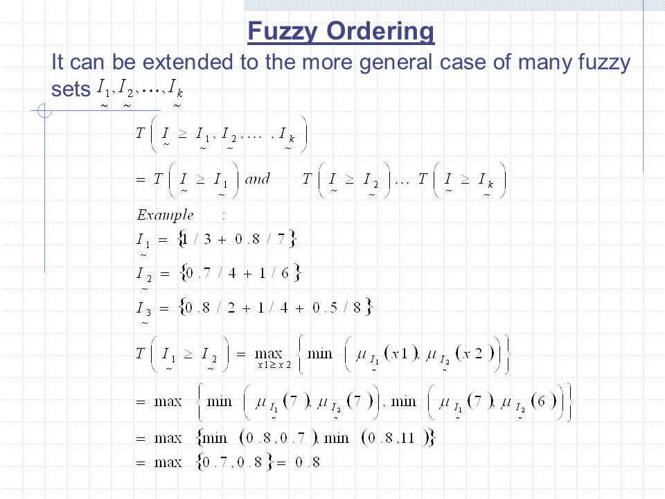 Fuzzy Ordering It can be extended to the more general case of many fuzzy sets