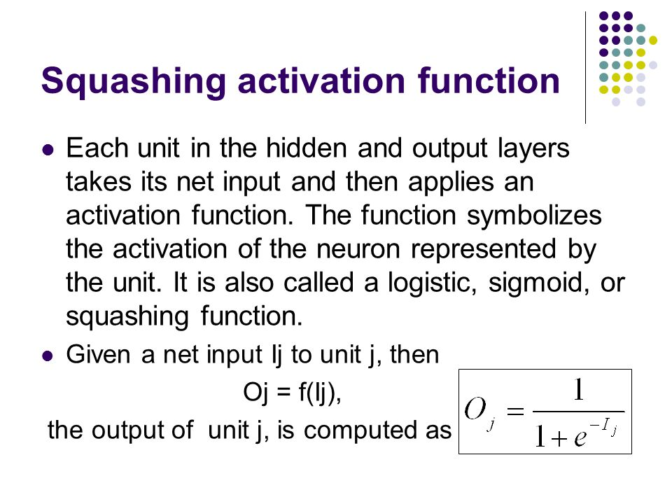 Squashing activation function Each unit in the hidden and output layers takes its net input and then applies an activation function. The function symb