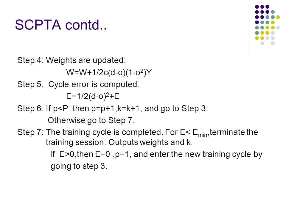 SCPTA contd.. Step 4: Weights are updated: W=W+1/2c(d-o)(1-o 2 )Y Step 5: Cycle error is computed: E=1/2(d-o) 2 +E Step 6: If p<P then p=p+1,k=k+1, an