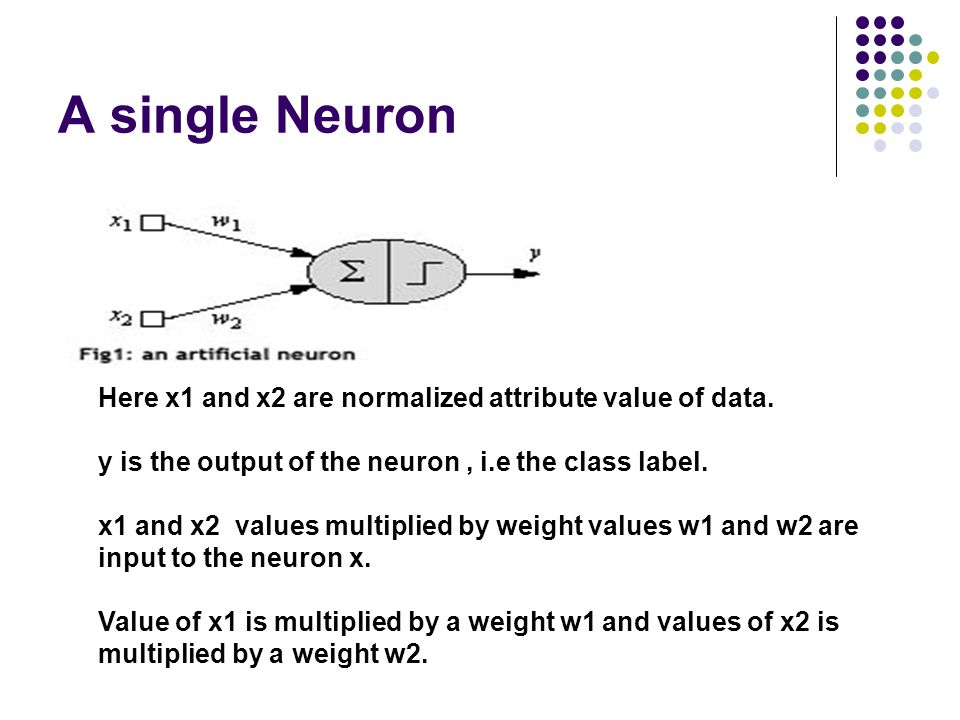 A single Neuron Here x1 and x2 are normalized attribute value of data. y is the output of the neuron, i.e the class label. x1 and x2 values multiplied