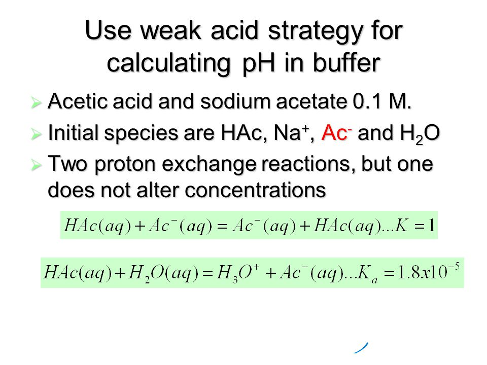 Use weak acid strategy for calculating pH in buffer  Acetic acid and sodium acetate 0.1 M.