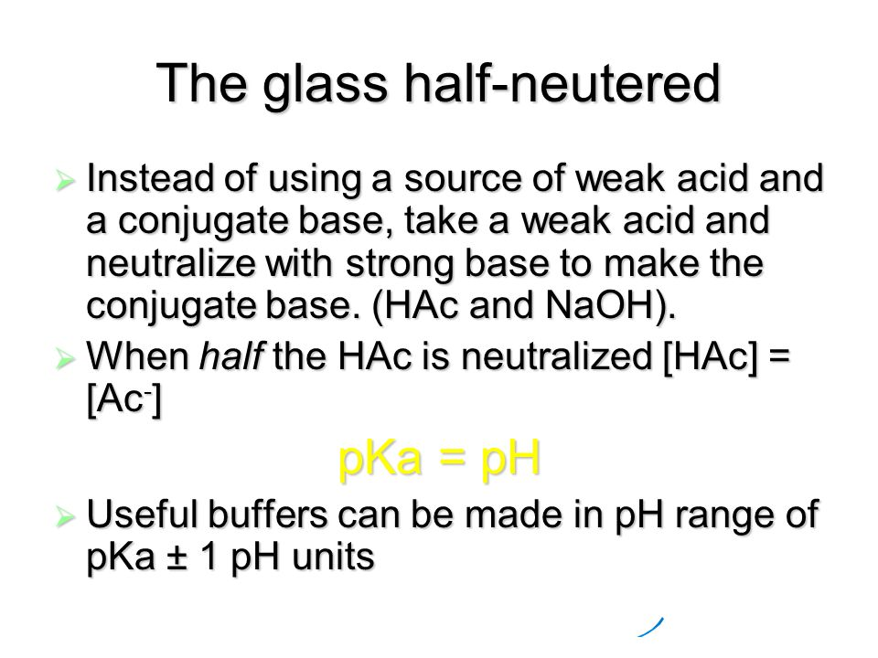 The glass half-neutered  Instead of using a source of weak acid and a conjugate base, take a weak acid and neutralize with strong base to make the conjugate base.