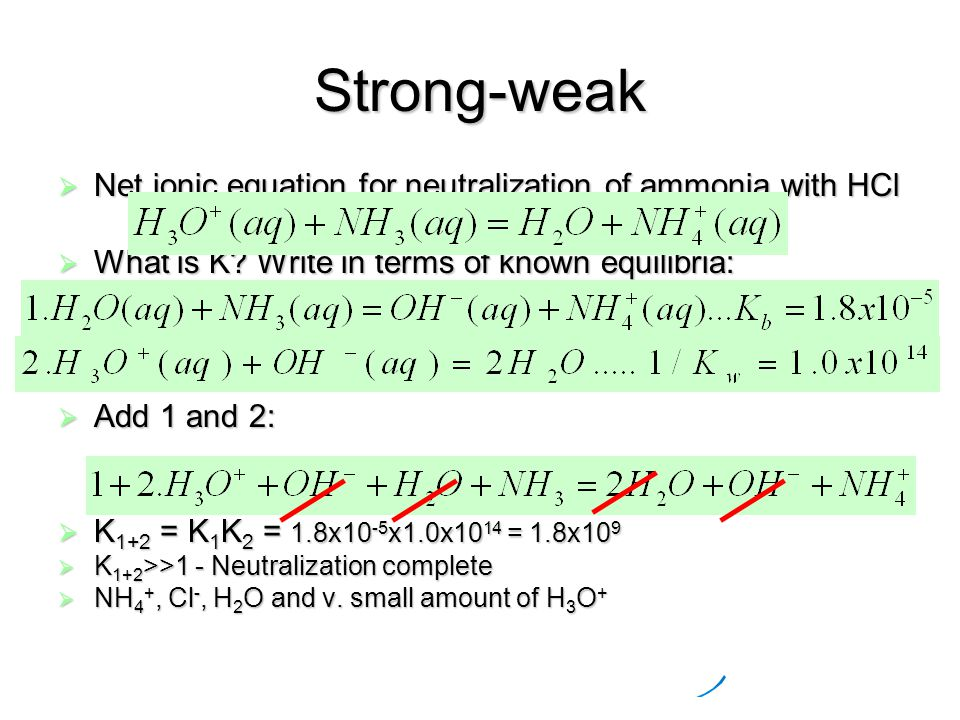 Strong-weak  Net ionic equation for neutralization of ammonia with HCl  What is K.