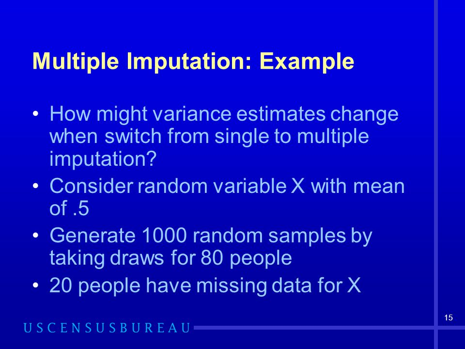 15 Multiple Imputation: Example How might variance estimates change when switch from single to multiple imputation.