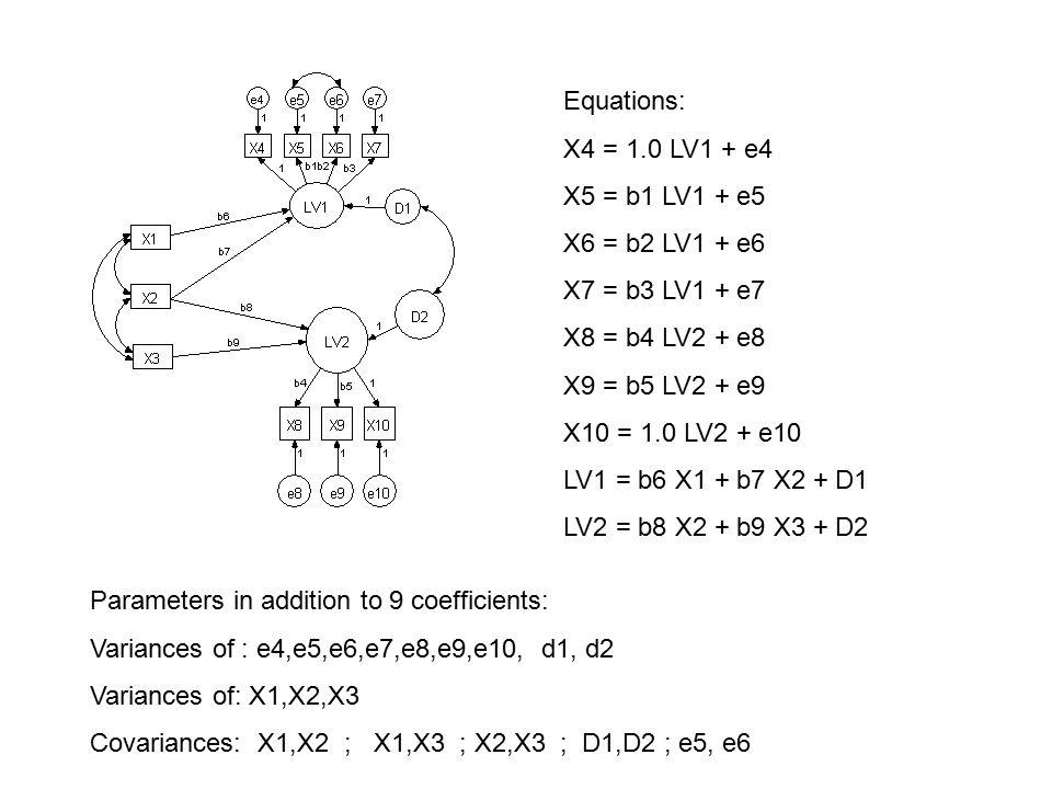 Equations: X4 = 1.0 LV1 + e4 X5 = b1 LV1 + e5 X6 = b2 LV1 + e6 X7 = b3 LV1 + e7 X8 = b4 LV2 + e8 X9 = b5 LV2 + e9 X10 = 1.0 LV2 + e10 LV1 = b6 X1 + b7