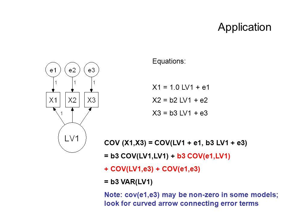 Application Equations: X1 = 1.0 LV1 + e1 X2 = b2 LV1 + e2 X3 = b3 LV1 + e3 COV (X1,X3) = COV(LV1 + e1, b3 LV1 + e3) = b3 COV(LV1,LV1) + b3 COV(e1,LV1)