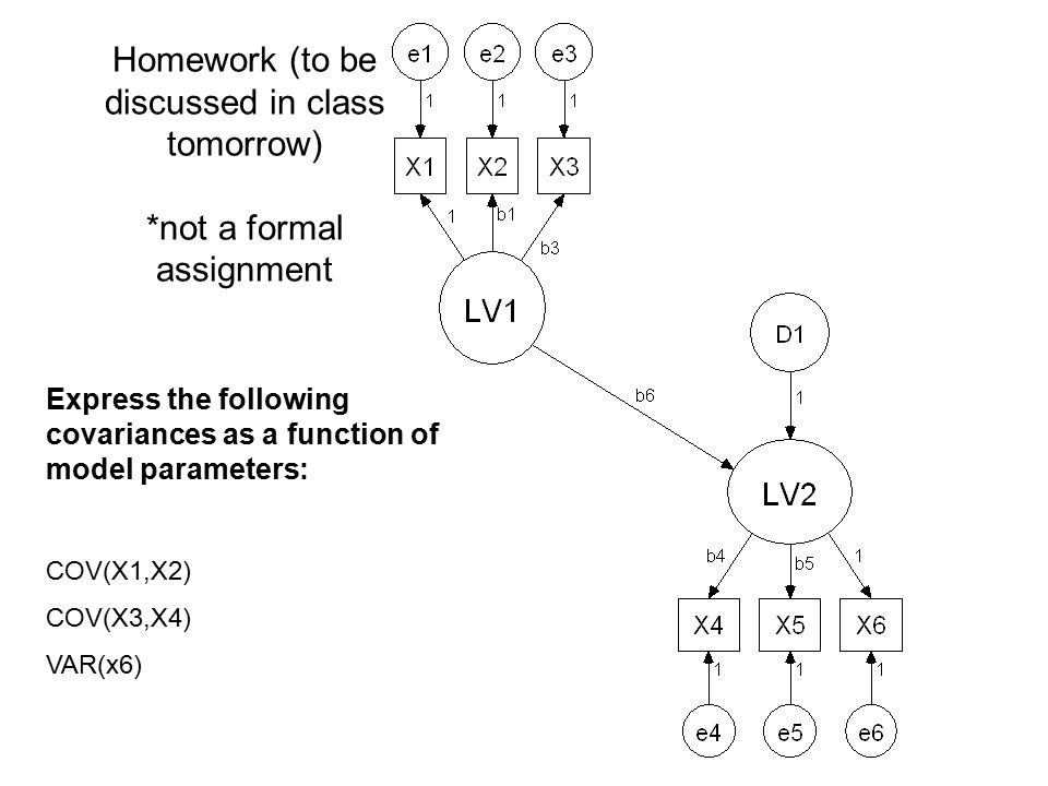 Homework (to be discussed in class tomorrow) *not a formal assignment Express the following covariances as a function of model parameters: COV(X1,X2)