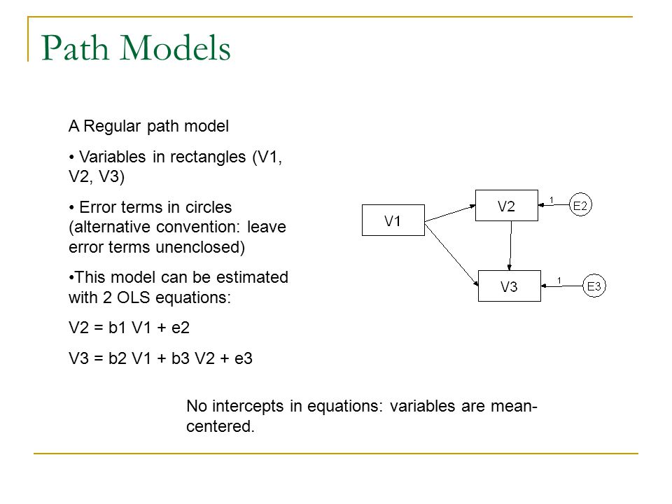 Path Models A Regular path model Variables in rectangles (V1, V2, V3) Error terms in circles (alternative convention: leave error terms unenclosed) Th