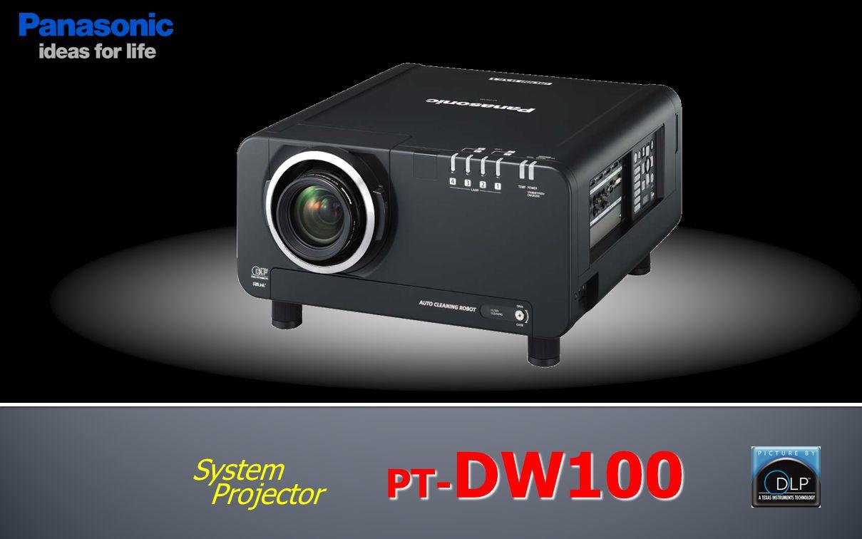 http://panasonic.net/avc/projector/ PT- DZ12000 PT- D12000 PT- DW10000 PT- D10000 PT- DW100 Resolution WUXGA (1,920x1,200) SXGA+ (1,400x1,050) 1080p (1,920x1,080) SXGA+ (1,400x1,050) WXGA (1,366x768) Brightness12,000 lm 10,000 lm Contrast5,000 : 1 Lamp300W x4250W x4300W x4 Others Geo.