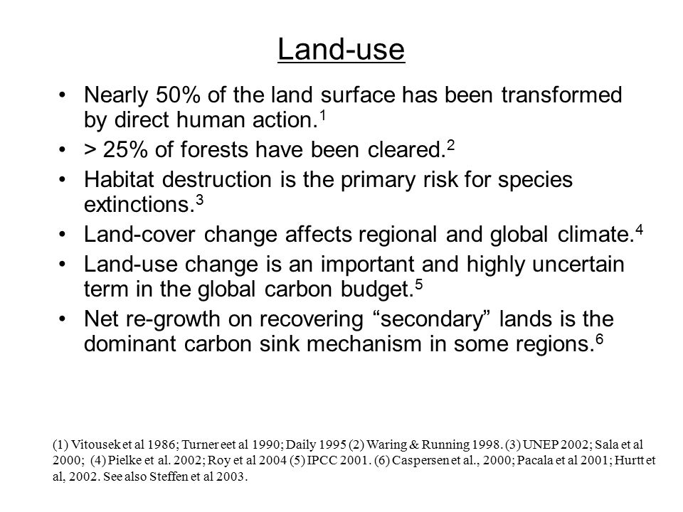 Land-use Nearly 50% of the land surface has been transformed by direct human action.