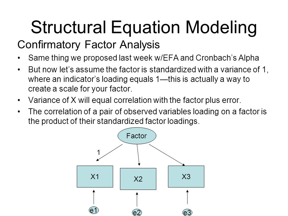 Structural Equation Modeling Confirmatory Factor Analysis Same thing we proposed last week w/EFA and Cronbach's Alpha But now let's assume the factor