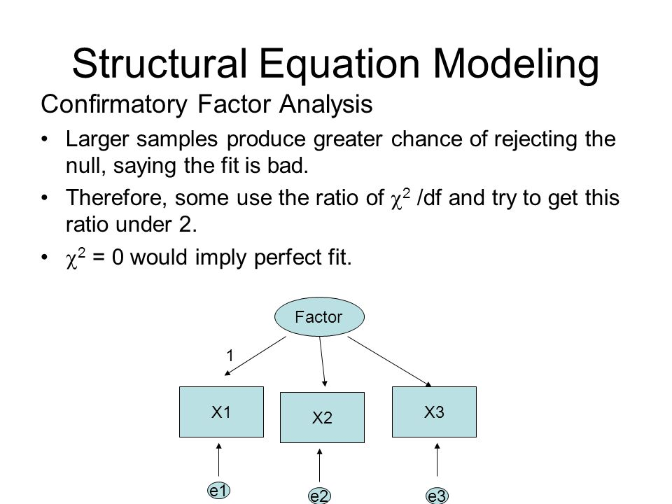 Structural Equation Modeling Confirmatory Factor Analysis Larger samples produce greater chance of rejecting the null, saying the fit is bad. Therefor