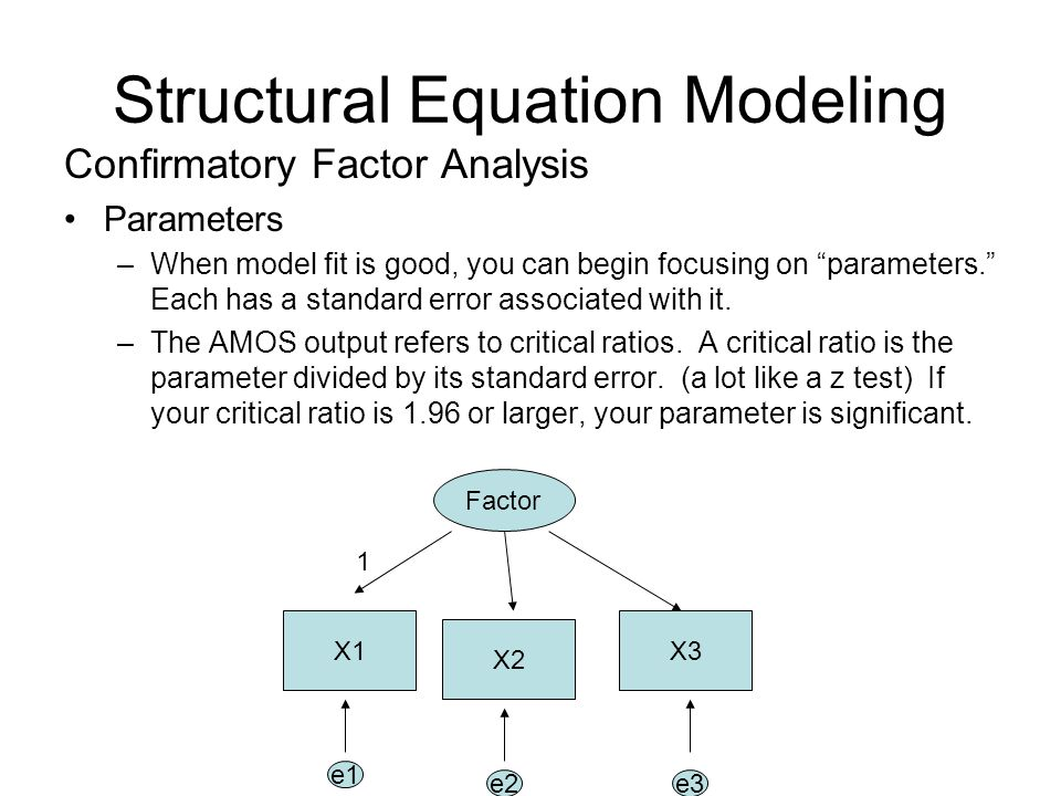 "Structural Equation Modeling Confirmatory Factor Analysis Parameters –When model fit is good, you can begin focusing on ""parameters."" Each has a stand"