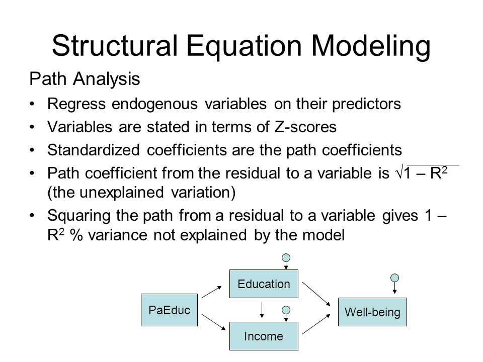 Structural Equation Modeling Path Analysis Regress endogenous variables on their predictors Variables are stated in terms of Z-scores Standardized coe