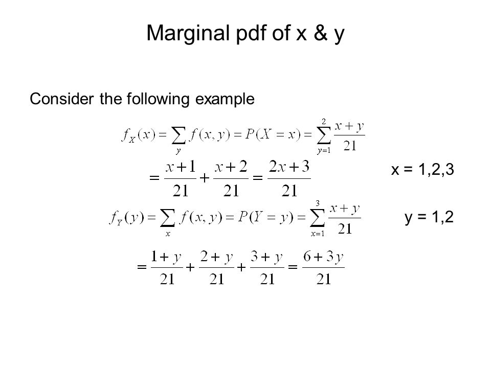 Marginal pdf of x & y Consider the following example x = 1,2,3 y = 1,2