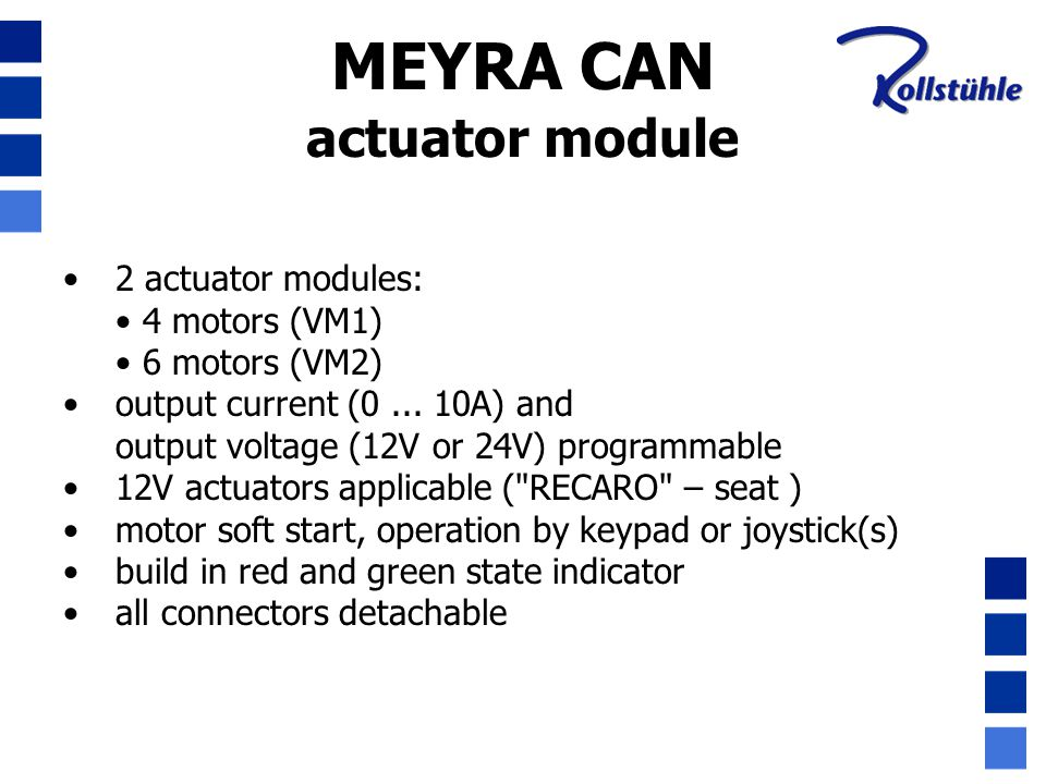 MEYRA CAN actuator module : connectors actuator 1: left legrest actuator 2: right legrest actuator 3: seat angle actuator 4: backrest angle actuator 5: seat lift ( SPRINT GT 3.593 or CHAMP 1.594) actuator 6: optional actuator X1, X2, X3, X4, XX: end stop switches