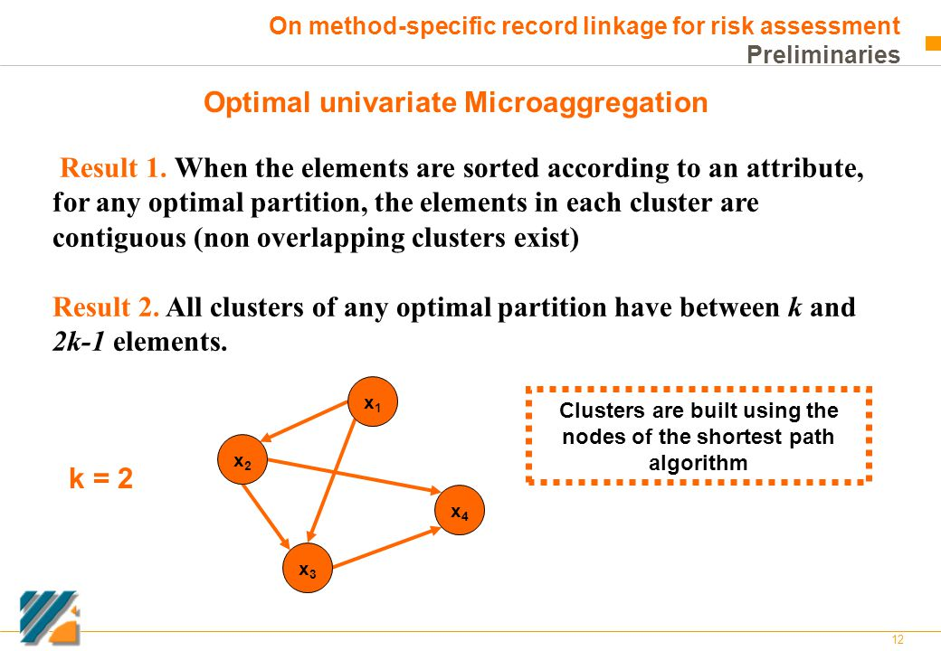12 On method-specific record linkage for risk assessment Preliminaries Optimal univariate Microaggregation Result 1. When the elements are sorted acco