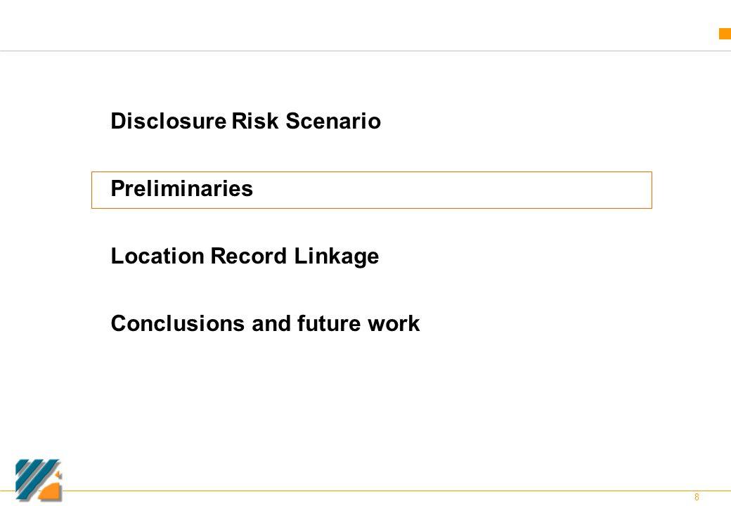 8 Disclosure Risk Scenario Preliminaries Location Record Linkage Conclusions and future work