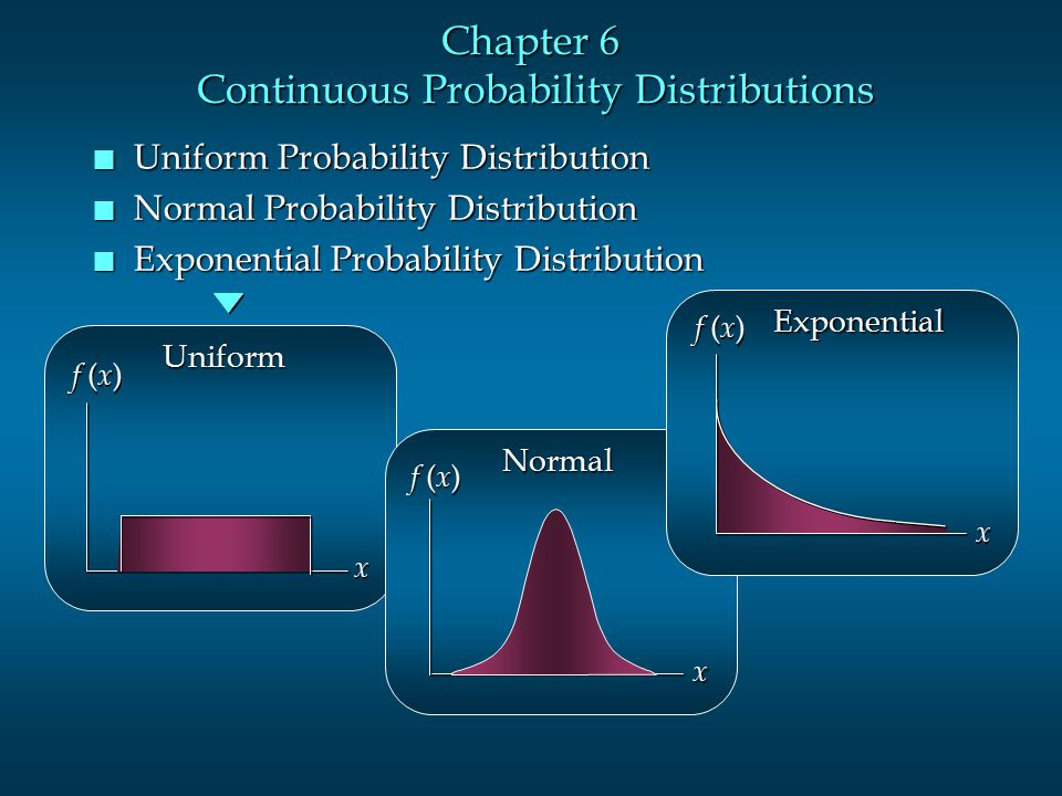 Chapter 6 Continuous Probability Distributions n Uniform Probability Distribution n Normal Probability Distribution n Exponential Probability Distribu