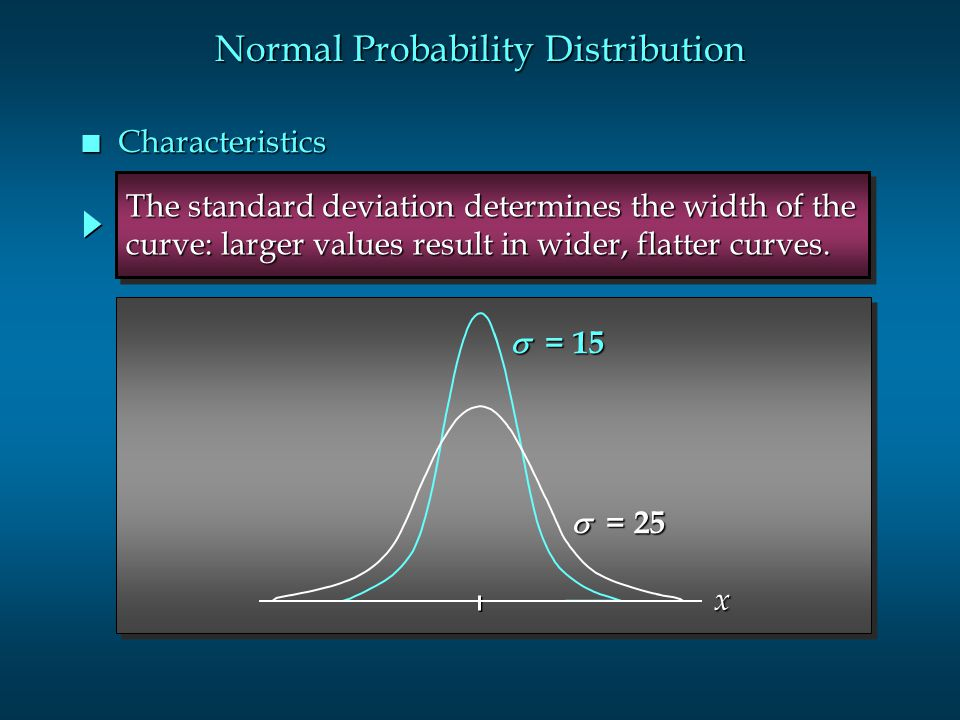 Normal Probability Distribution n Characteristics  = 15  = 25 The standard deviation determines the width of the curve: larger values result in wid