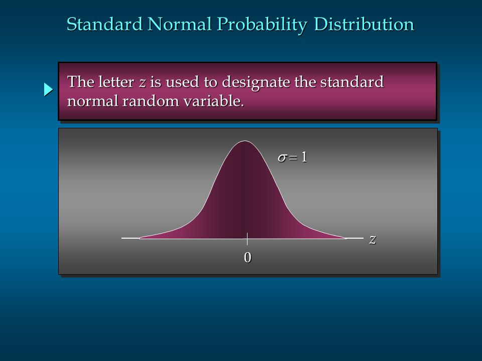  0 z The letter z is used to designate the standard The letter z is used to designate the standard normal random variable. normal random variable
