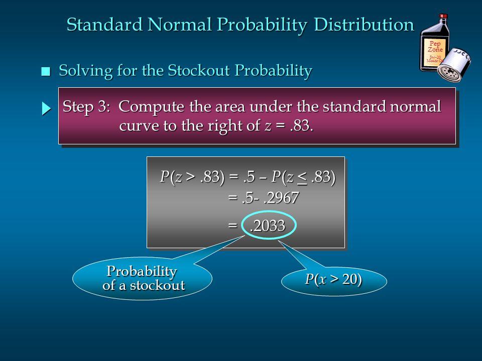 P ( z >.83) =.5 – P ( z.83) =.5 – P ( z <.83) =.5-.2967 =.5-.2967 =.2033 =.2033 P ( z >.83) =.5 – P ( z.83) =.5 – P ( z <.83) =.5-.2967 =.5-.2967 =.20