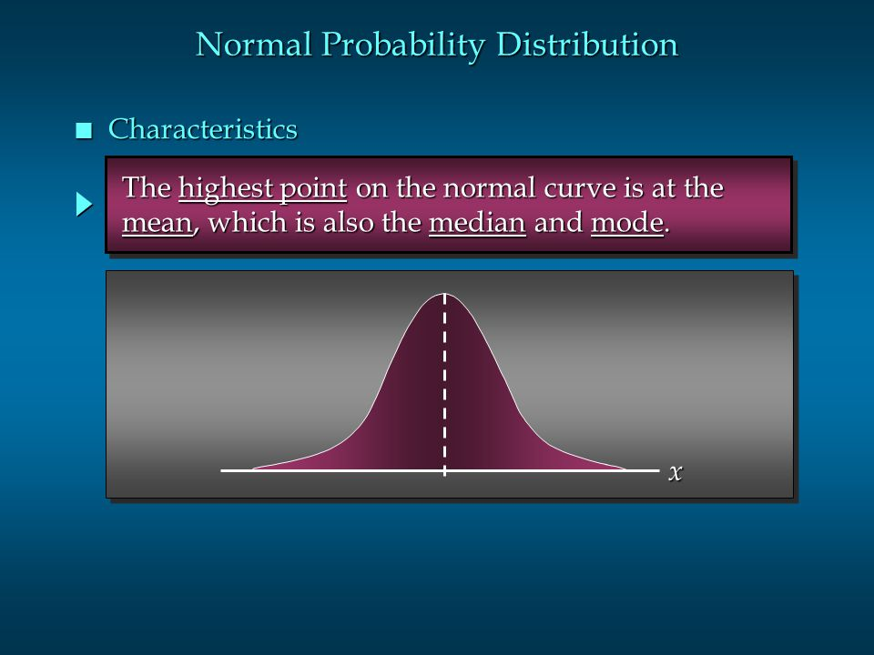 The highest point on the normal curve is at the The highest point on the normal curve is at the mean, which is also the median and mode. mean, which i