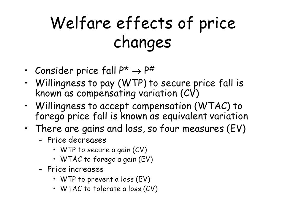 Welfare effects of price changes Consider price fall P*  P # Willingness to pay (WTP) to secure price fall is known as compensating variation (CV) Wi