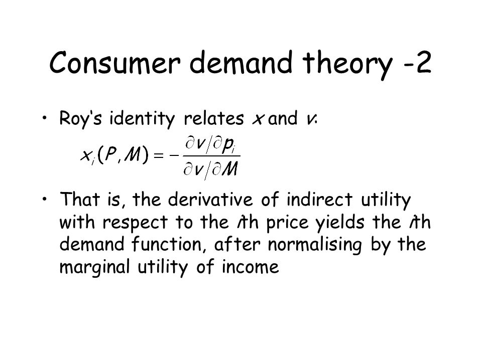 Welfare measures Compensating variation is the quantity of income that compensates consumers for a price change, that is, returns them to their original welfare Equivalent variation is an income change that yields the same utility change as the price change Both terms can be defined using the expenditure function