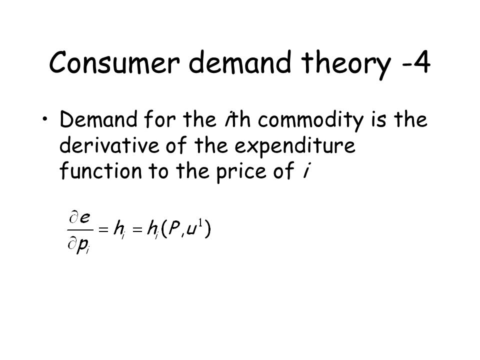 Constructing a compensated demand function A B C I1I1 C A B h x1 (p 1,p 2,U 1 ), demand for x 1 Budget constraint p1p1 x1x1 x1x1 x2x2