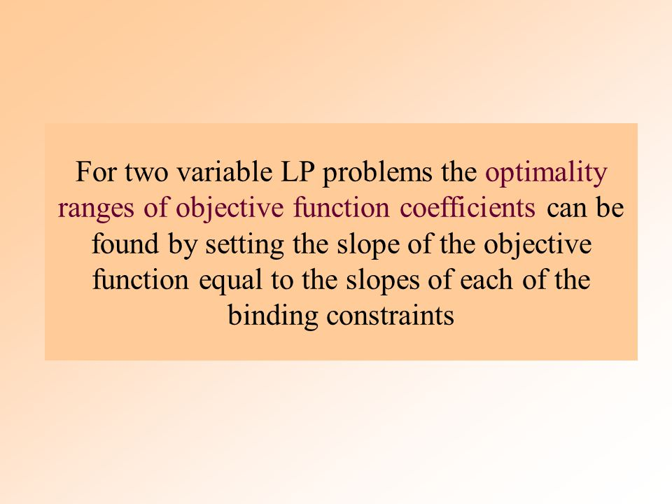 The optimality range for an objective coefficient is the range of values over which the current optimal solution point will remain optimal