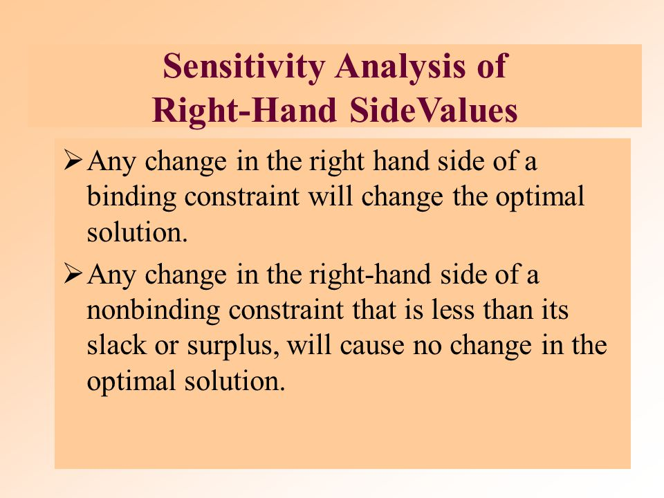 Changes in Right-Hand-Side Values of Constraints The sensitivity range for a RHS value is the range of values over which the quantity (RHS) values can