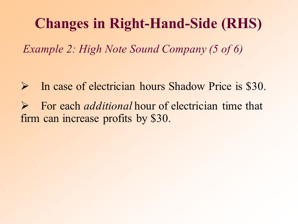  Primary information is provided by Shadow Price  Resources available:  80 hours of electricians' time.  60 hours of audio technicians' time.  Fi